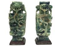 Pair of Green Quartz Urns