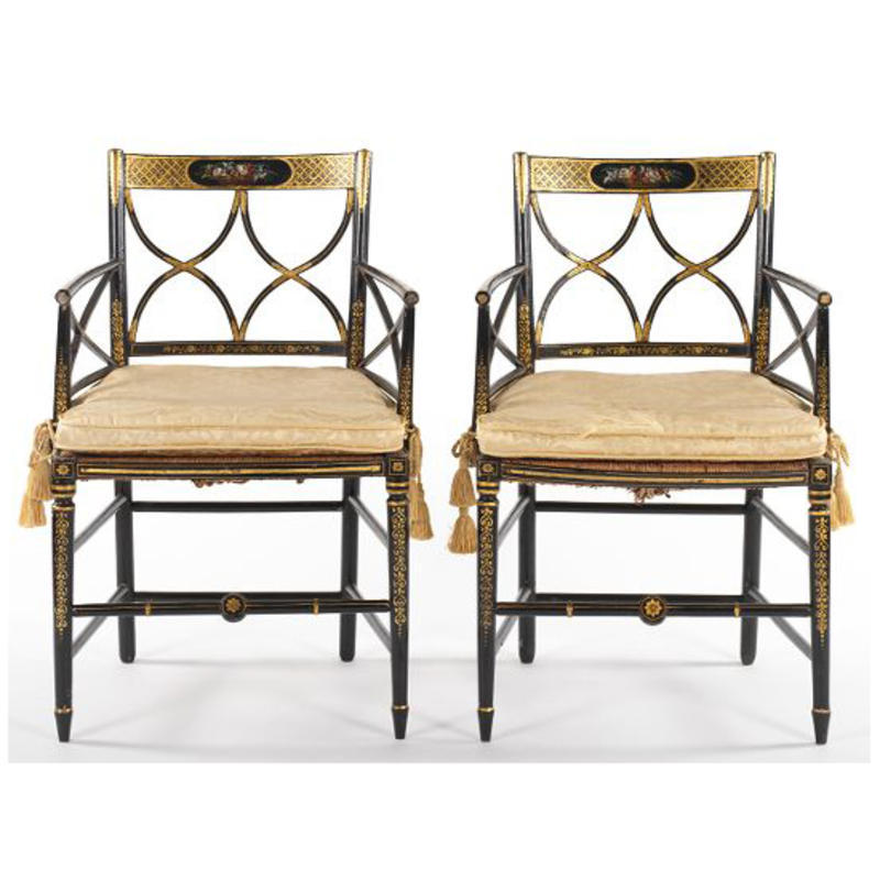 Pair of Painted and Gilt Chairs