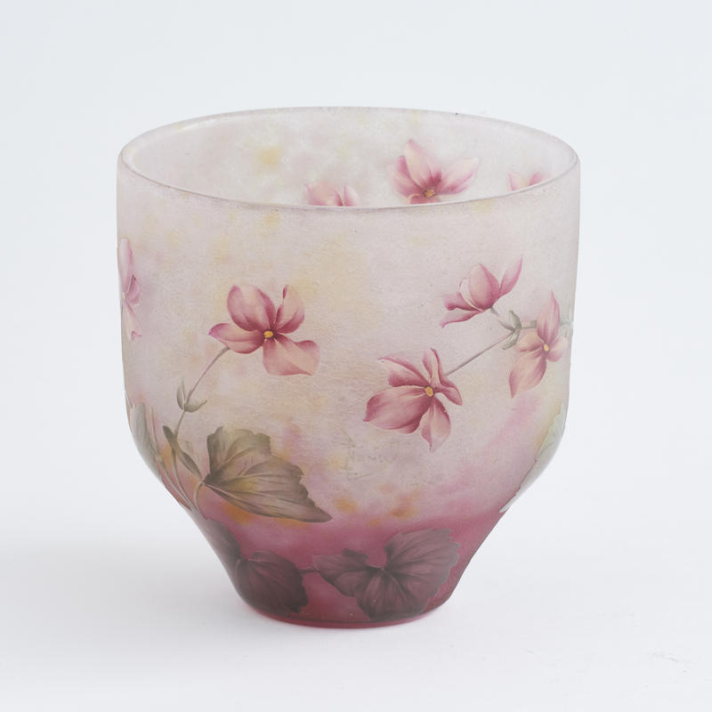 "Enamelled Cameo Glass ""Violet"" Vase"