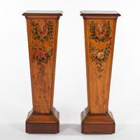 Pair of Edwardian Painted Mahogany Pedestals