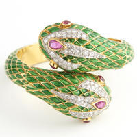 Enameled 18k Gold Serpent Bracelet
