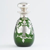 Green Silver Overlay Bottle