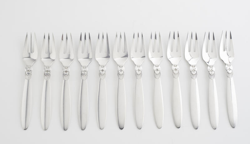 "Set of 12 ""Cactus"" Fish Forks"