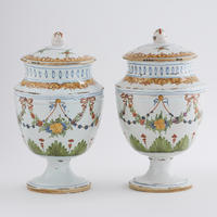 Pair of Faience Urns