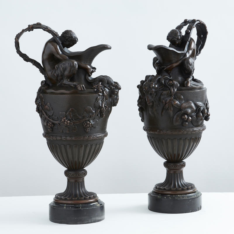Pair of Bronze Figural Ewer Garnitures