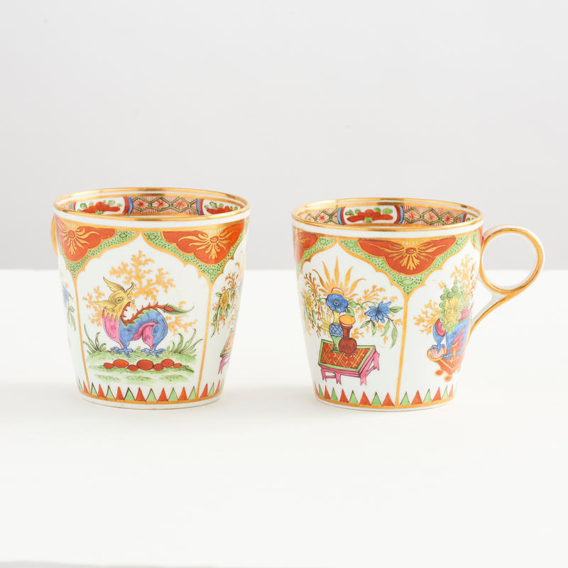 "Pair of ""Dragons in Compartments"" Cups."