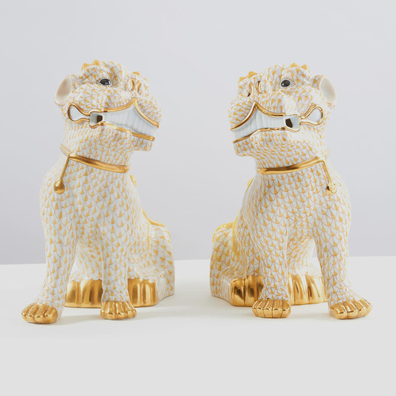 "Pair of ""Butterscotch Fishnet"" Foo Dogs"