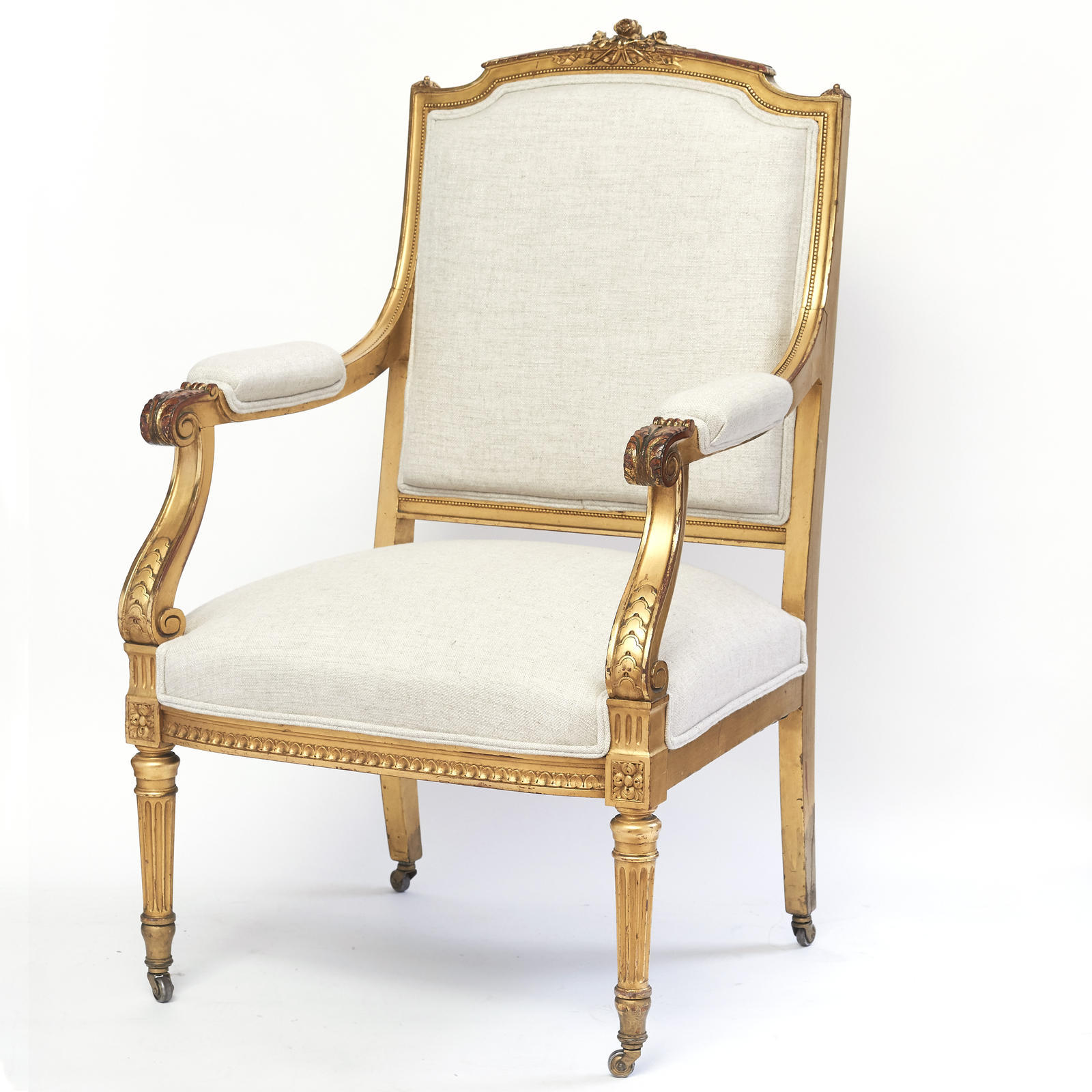Louis XVI Style Gilt Wood Fauteuil