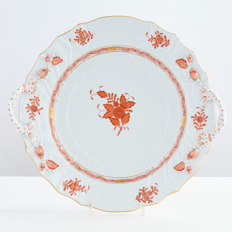 Chinese Bouquet Rust Cake Plate