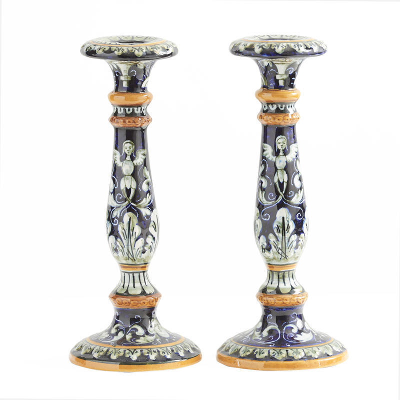 Pair of Majolica Candlesticks