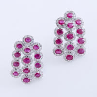 Pair of Ruby & Diamond Earrings
