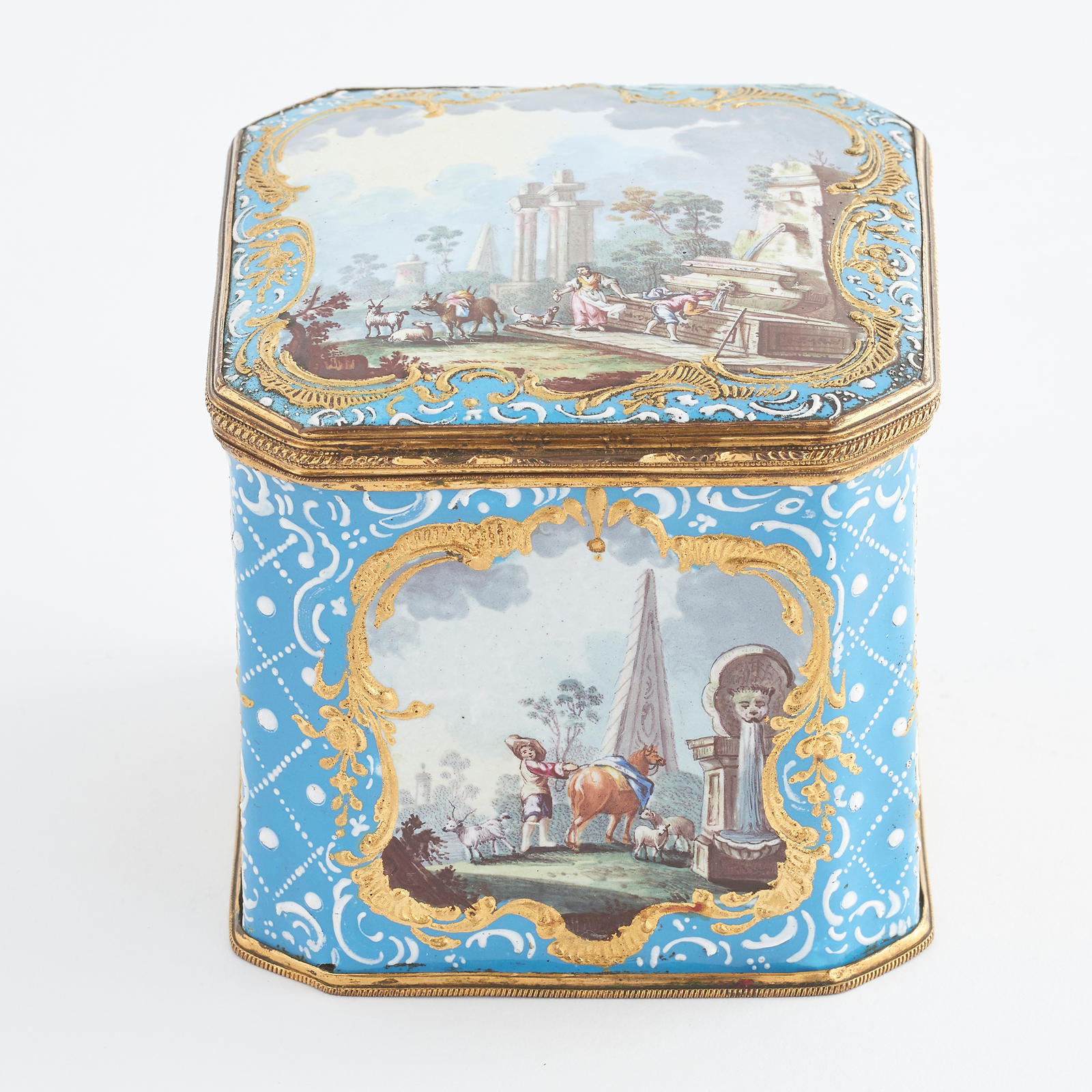 Bilston-Battersea Enamel Sugar Box