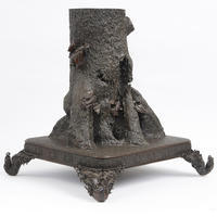 "Figural ""Bats on a Tree Stump"" Planter"
