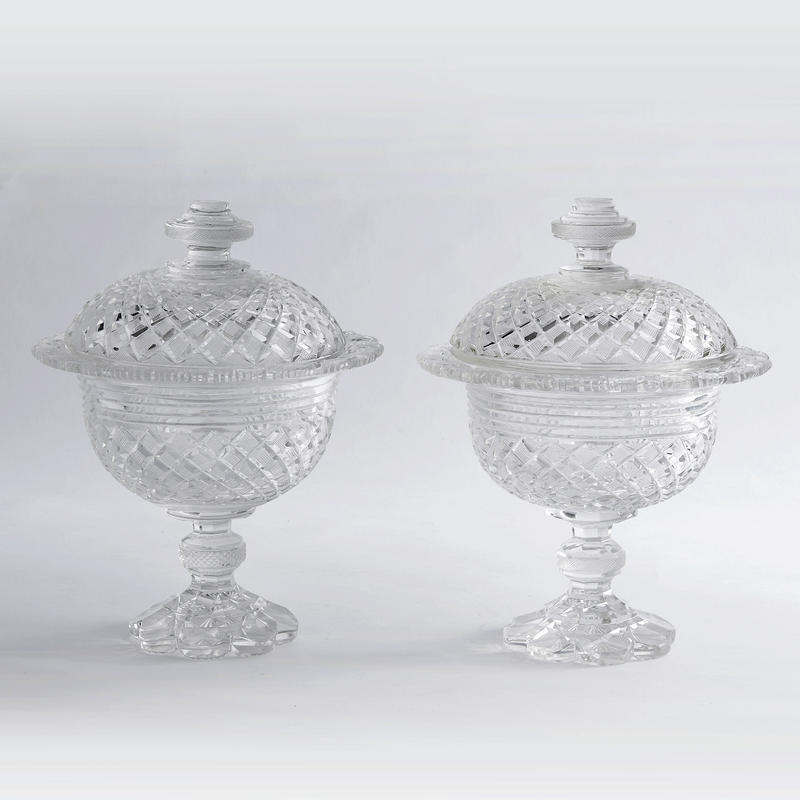 Anglo-Irish Crystal Sweetmeat Urns