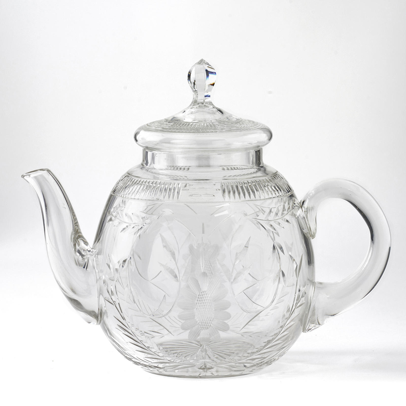 rare american brilliant period teapot glass greenwald antiques
