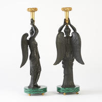 Pair of Caryatid Candlesticks