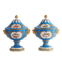 "Pair of ""Celeste Blue"" Covered Urns"