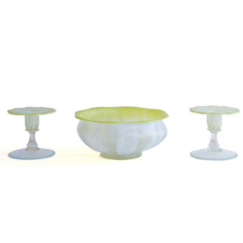 Three Piece Favrile Glass Garniture Set