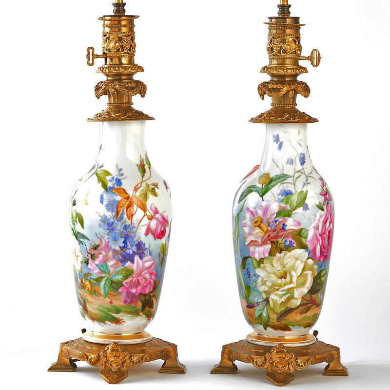 Pair of Italianate Botanical Lamps