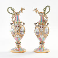 Pair of Early Meissen Ewers