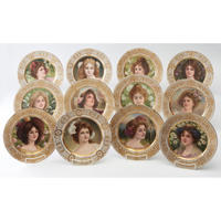 Set of 12 Viennese Portrait Plates