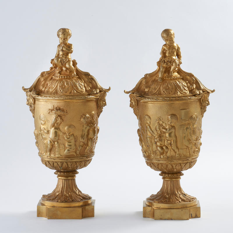 Pair of Dore Bronze Covered Urns