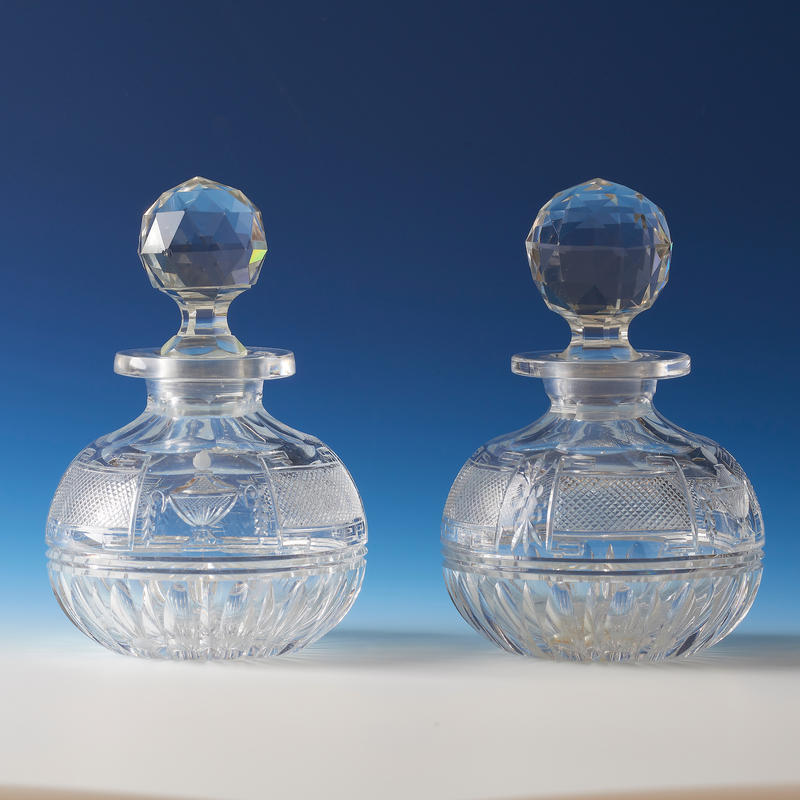 Pair of Cut Crystal Bottles