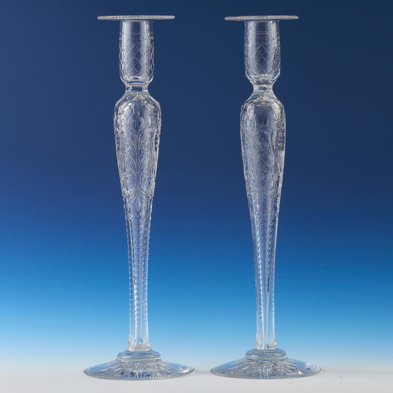 Pair of Engraved Crystal Candlesticks